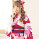 【あす楽】浴衣 3点セット 赤地x椿の花模様浴衣セット