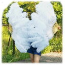 巨大扇子!白ダチョウ羽根扇子(駝鳥センス)【送料無料】(中国雑貨、羽毛扇子、舞踊扇子)  rouishin817