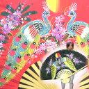 オリエンタルなタイセンスの柄が目を引く! 巨大タイ扇子【孔雀柄・大】(黒、赤、ピンク、水色)  10P23Apr09