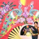 オリエンタルなタイセンスの柄が目を引く! 巨大タイ扇子【孔雀柄・小】(黒、赤、ピンク、水色)  10P23Apr09