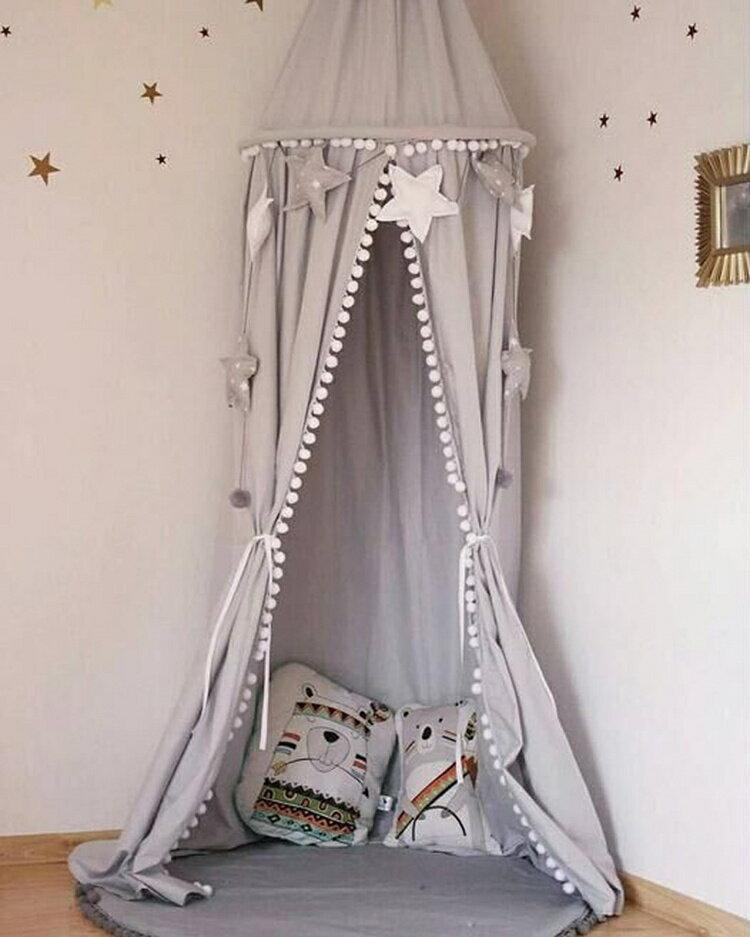キャノピー ベビーベッド ポンポン付き蚊帳 テント 子供部屋 カーテン ティピー パリ フェアリー 天蓋 シャビー ブルー グレー アッシュ グレー ピンク ホワイト 高さ約240cm 直径約:50cm
