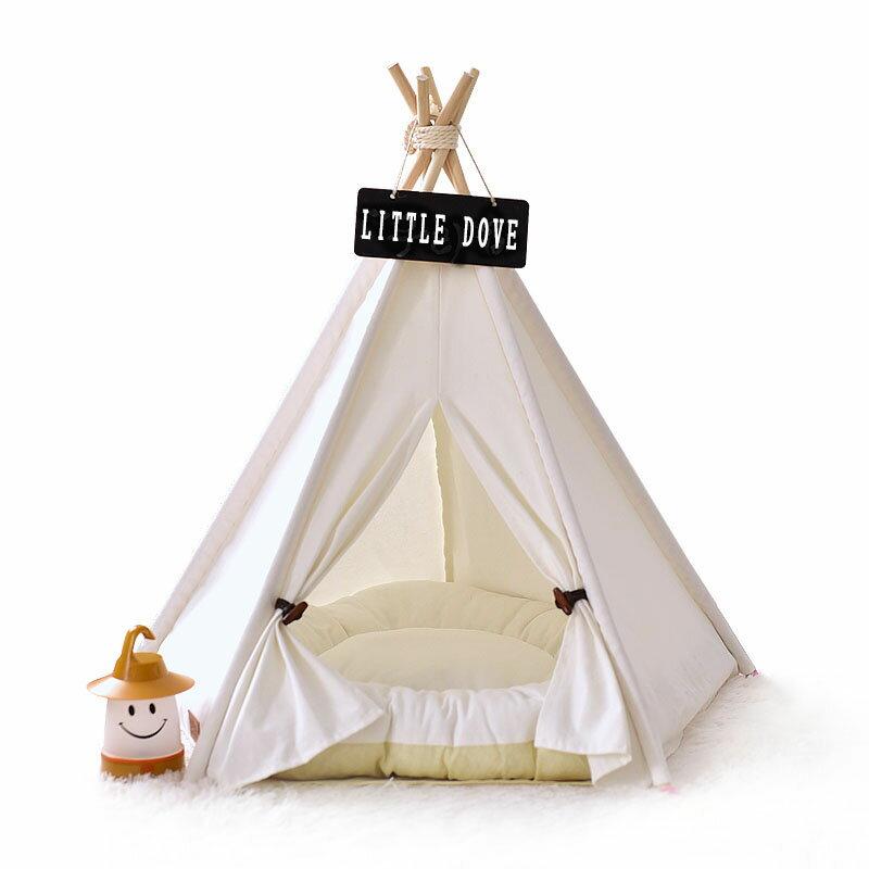 Mサイズ テント ペット ペットテント ティピーテント 動物 犬 猫 ペットハウス 小屋 簡易テント 室内 室内テント おもちゃ プレゼント 秘密基地 無地 ナチュラル