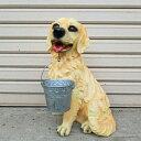 【※送料無料】犬の置物/オーナメント/ドッグ/アウトレット/犬置物/ガーデニング資材/ガーデニング置物/オブジェ/高さ約40cm/ブラウン/バケツ付き※ランダム(※北海道・沖縄は送料1000円が必要となります)