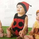 なりきりてんとう虫/ベビー服/帽子付き 着ぐるみオール&帽子 2点セット/パイル地/赤ちゃん 変身ウェア/なりきりセット/ノンスリーブ/70cm/テントウムシ