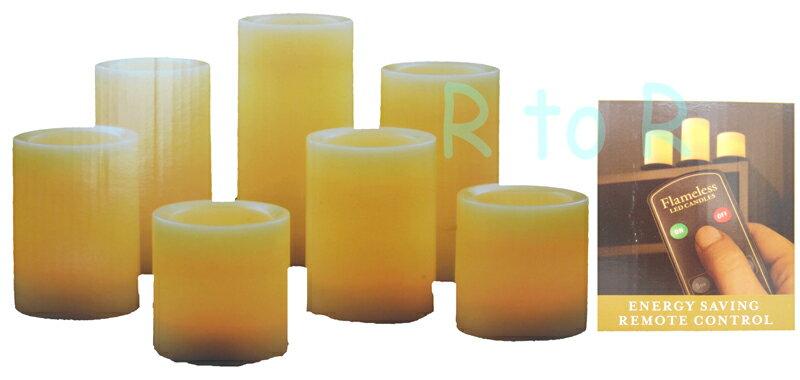 フレイムレス LEDキャンドル 7本セット(4種類) 電池式 リモコン付き バニラの香り キャンドルライト