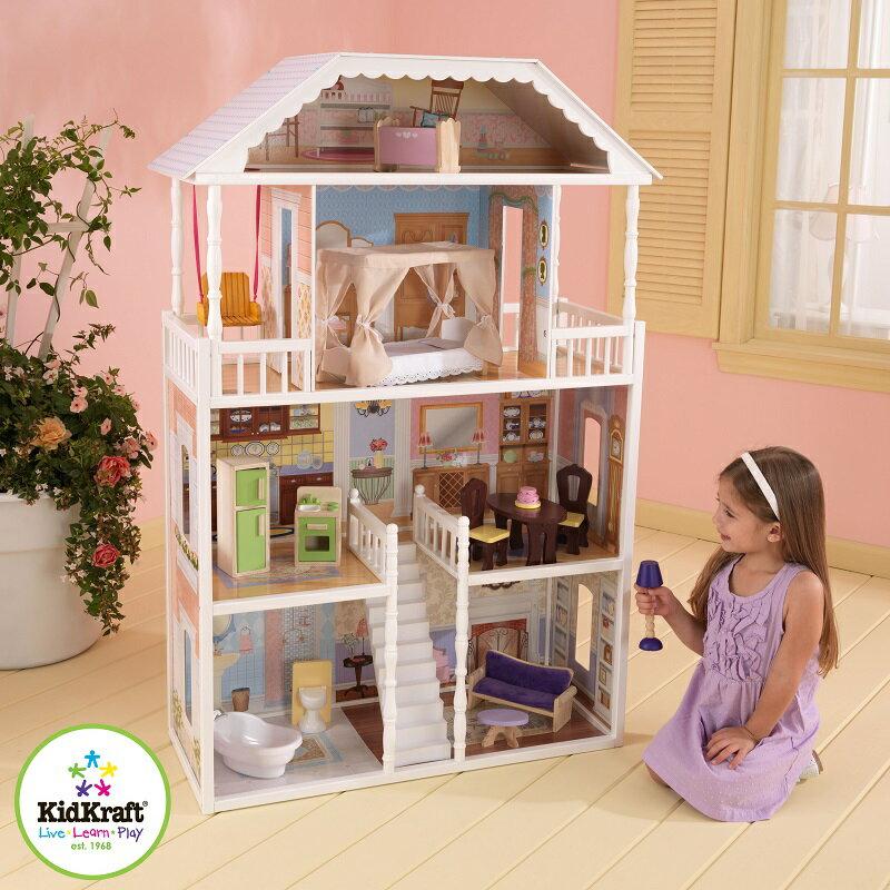 KIDKRAFT3階建+ロフト 木製ドールハウスセット「SAVANNAH DOLLHOUSE」家具14点付き♪キッドクラフト/サバンナ※同梱・沖縄・離島発送不可