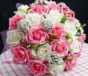 楽天アールトレードSHOP 楽天市場店ブライダル バラ 造花 ウェディングブーケ 花束 (ホワイト×ピンク)