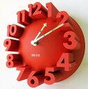 3D 立体 掛け時計 モダン デザイン ウォールクロック 壁 (22cm 赤)