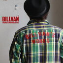 ネルシャツ メンズ BILLVAN WORKS バック刺繍 ヘビーネル チェックシャツ 05 GREEN×NAVY アメカジ ビルバン