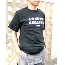 tシャツ 半袖 Calling レディース メンズ トップス カットソー スウェット ロゴ Uネック S M L 黒 ブラック【送料無料】