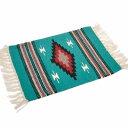 楽天RUG FOREST 楽天市場店エルパソサドルブランケット (El Paso SADDLEBLANKET) Wool Chimayo Style/ウールラグ素材プレースマット[約51×38cm]TEAL