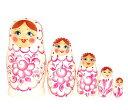 マトリョーシカカラフルグジェリ柄(グジェリ柄・白×ピンク)5個組 11cm【マトリョーシカ】