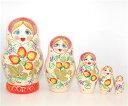 ロシアの人形 マトリョーシカ「ホフロマイチゴ 柄 ホワイト」5個組16cm【マトリョーシカ】