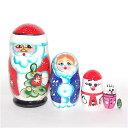 ロシアの人形 クリスマスマトリョーシカ「サンタクロースと仲間たち」5個組 9.5cm【マトリョーシカ】