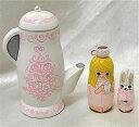 Spillaより愛を込めて!Spilla手作りマトリョーシカ『ハッピーティータイム ピンク』3個組 7cm【マトリョーシカ】