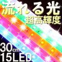 流れるLEDテープライト 30cm 【LED15個流れる テープ SMD 薄型 高輝度 LED ライトカー 車用品 バイク用品 LEDカスタム外装パーツ ネオン管 イルミネーション チューブ 側面】