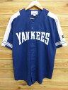 古着 半袖 ベースボール シャツ スターター STARTER MLB ニューヨークヤンキース 紺 ネイビー 【spe】 ユニフォーム Mサイズ 中古 メンズ トップス