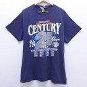 ショッピングベース 【中古】古着 半袖 ビンテージ ヴィンテージTシャツ 90年代 90s リー Lee MLB ニューヨークヤンキース ワールドシリーズ クルーネック 丸首 紺 ネイビー メジャーリーグ ベースボール 野球 Lサイズ 中古 メンズ | 春夏 夏物 夏服 ヴィンテージTシャツ メンズファッショ