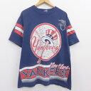 ショッピングベース 【中古】古着 半袖 ビンテージ ヴィンテージTシャツ 90年代 90s MLB ニューヨークヤンキース アメリカンリーグ 大きいサイズ 2L LL ビッグシルエット ゆったり ビッグサイズ オーバーサイズ コットン クルーネック 丸首 USA製 アメリカ製 紺 ネイビー メジャーリーグ