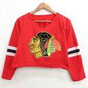 ショッピングアイス 【中古】古着 7分袖 ビンテージ ヴィンテージ フットボールTシャツ メンズ 90年代 90s NHL シカゴブラックホークス ショート丈 赤 レッド アイスホッケー Lサイズ 中古 7分丈 七分丈 七分袖 2084054037