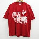 ショッピングXL 【中古】古着 半袖 ビンテージ ヴィンテージTシャツ メンズ 80年代 80s LINDA LORI 牛 ブタ 両面プリント クルーネック 丸首 USA製 アメリカ製 赤 レッド XLサイズ 中古 | 春夏 夏物 夏服 ヴィンテージTシャツ メンズファッション カットソー ティーシャツ ティシャツ