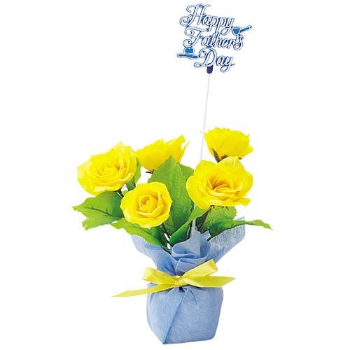 ★造花 観葉植物 装飾デコレーション 父の日ローズポット(3) [FLGD3687]