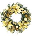 ★クリスマスリース 造花 フラワー 装飾45cm ゴールドポインセチアパインリース [DIWR61008]