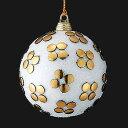 ★クリスマス 装飾 オーナメント 8cmフローラルホワイトアンティークボール [TOBA6189]