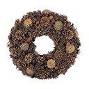 35cmドライスティックパインコーンリース クリスマス装飾 造花 フラワー 人工観葉植物 [DINA6977]