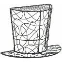 ワイヤーシルクハット半立体 黒 花器 オブジェ [T-KA507084-00B] 代引決済不可