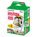 FUJIFILM (富士フィルム) チェキ instax mini インスタントカラーフィルム 白フレーム 2パック品(10枚×2パック)【20枚】