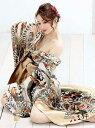 ドレス イベント衣装 着物ドレス 和柄 ダンス 豹柄 シフォン ゴールド 花魁 振袖