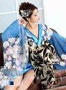 花魁 ドレス 和柄 花柄 キャバ 着物 インナーミニ シフォン 正月 青