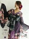花魁 着物ドレス 和柄ドレス 花柄 キャバ 中ミニ シフォン シアー 15号 振り袖