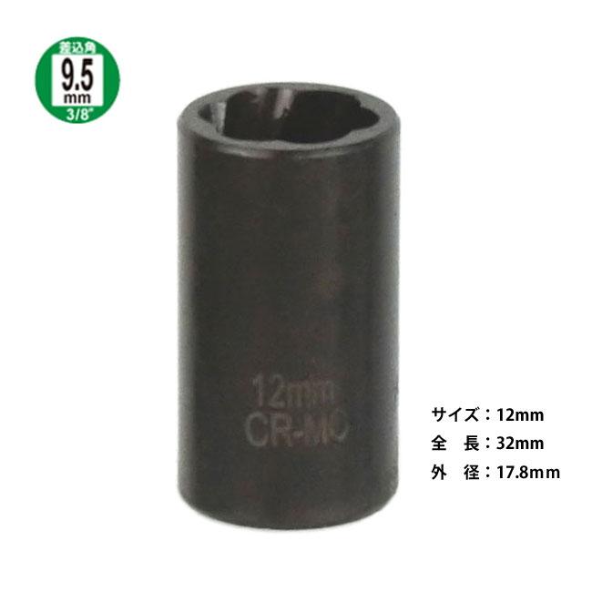 【ネコポス限定】なめたナット一撃 ナットツイスターソケット 12mm J112