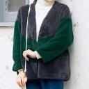 SALE  セール ショートコート M L 配色デザイン総フェイクファーコート(M〜L) ryuryu リュリュ 20代 30代 40代 ファッション 秋冬 秋服 コート アウター アウトレット 在庫処分