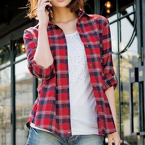 ライトネルチェックシャツ リュリュ ファッション レディース アウトレット