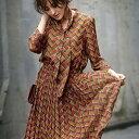 ワンピース/秋冬/M/LL/L/3Lサイズ幾何柄プリーツワンピ ryuryu/リュリュ 30代 レディース ファッション