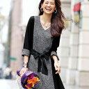 ワンピース/秋冬/長袖/M/LL/L/3Lサイズシックなツイード調素材をブラックで引き締めた、ほっそり見せが叶うワンピース。ツイード調切替シェーディングワンピース ryuryu/リュリュ 30代 40代 ラナン Ranan ファッション レディース