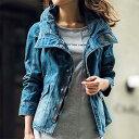 ブルゾン/レディース/春/M/Lサイズ衿にボリュームを持たせたデニム素材のブルゾン。ボリューム衿デニムブルゾン