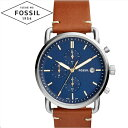 【商品入れ替えクリアランス】フォッシル FOSSIL FS5401 コミューター時計 腕時計 メンズ ネイビー ブラウン レザー 青い腕時計