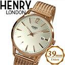 楽天腕時計&ブランドギフト SEIKA【当店ならお得クーポンあり!】【クリアランス】ヘンリーロンドン HENRY LONDONHL39-M-0026(38) リッチモンド メッシュ時計 腕時計 メンズ レディースシルバー ピンクゴールド 39mm ピンクゴールドの腕時計