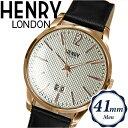 【クリアランス】ヘンリーロンドン HENRY LONDONHL41-JS-0038(29) ウェストミンスター時計 腕時計 メンズ レディースシルバー ブラックレザー 41mm