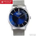スイスミリタリー SWISS MILITARY プリモ ML434(19)時計 腕時計 メンズ ネイビー メッシュ 青い腕時計