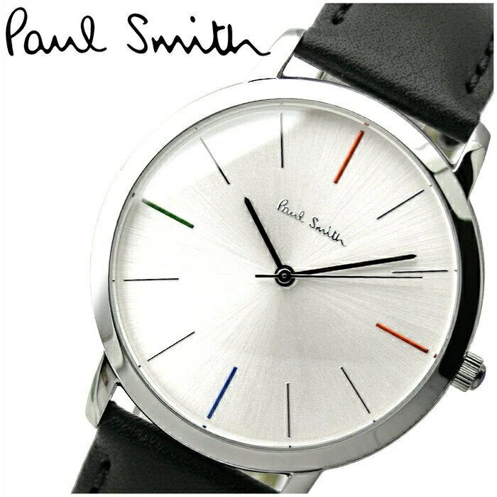 【期間限定 3年間保証】ポールスミス PAUL SMITH 時計 腕時計 メンズP10051 シルバー ブラックレザー