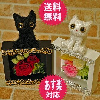 プリザーブドフラワー ギフト プレゼント 花 父の日 ギフト ネコ 猫 ねこ ぬいぐるみ …...:s-arrange:10000833