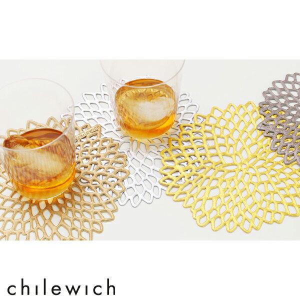 【スーパーSALE最大44倍】【ゆうパケット可】chilewich / PRESSED DAHLIA(プレスド ダリア)コースター(1枚)サイズ:直径12.7cm