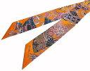 ≪新品≫エルメス ツイリー Fleurs et Papillons de Tissus ≪花咲く織物≫ オレンジ系 箱リボンのラッピング