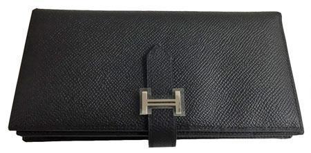 ≪送料無料≫ エルメス ベアンスフレ エプソン 黒 シルバー金具 R刻印 箱付きラッピング Wallet Bearn Souffle Veau Epson Noir Silver Backle