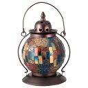 《クリムトの絵画を想わすモザイクガラスの色使いが幻想的な光を映し出す》イシグロ モザイクランプ クリムト ランタン型(ブルー)20620